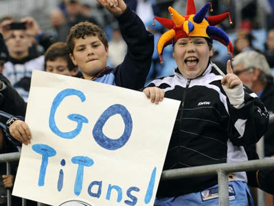 Young Titans fans show their support.
