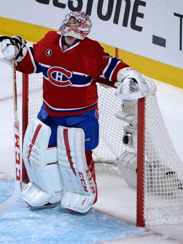 Montreal Canadiens goalie Carey Price (31) looks at