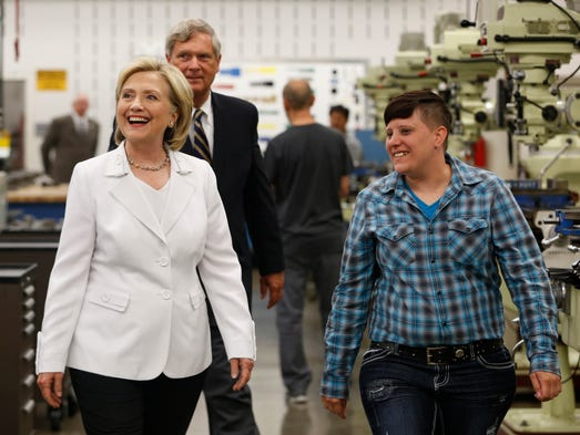 Student Laura Hinkel (right) leads Democratic presidential