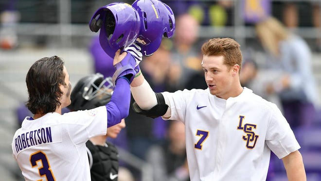 LSU's Kramer Robertson and Greg Deichmann led the way for the Tigers offensively on Wednesday.