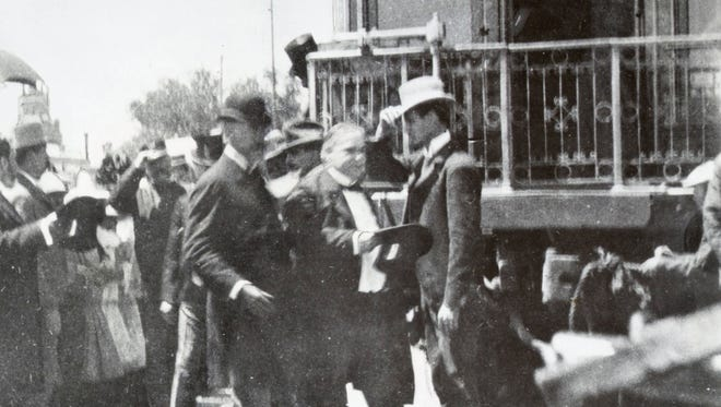 "President William McKinley alighting from his private railway car ""Olympia"" in 1901 after arriving in El Paso for a one-day visit. The president's travel would also take him to Phoenix and the West Coast."
