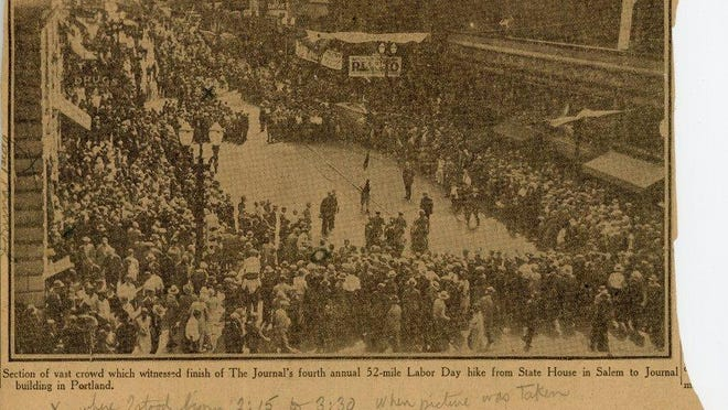A newspaper clipping tells the story of grueling labor day tradition from the 1920s. Originally published in the Oregon Journal Sept. 3, 1929. The clipping is part of the Renska Swart Collection.