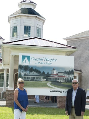 Pam and Macky Stansell in front of the hospice residence that will bear their name — The Macky and Pam Stansell House at Coastal Hospice at the Ocean — in honor of their support for the project. Once opened, the Ocean Pines facility will serve hospice patients from across the Lower Shore: Dorchester, Somerset, Wicomico and Worcester counties.