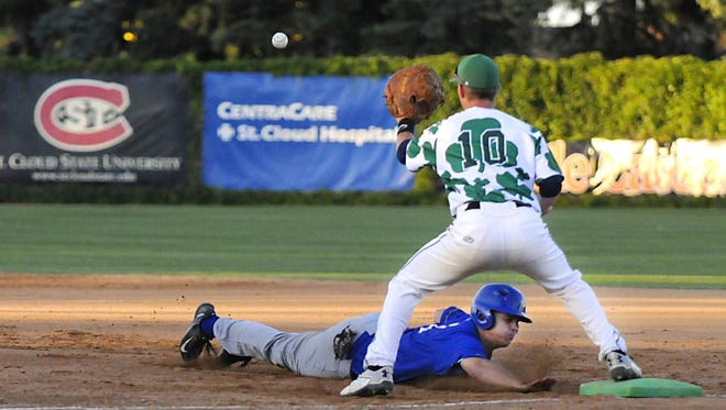 Michael Strem gets the out on first base during the St. Cloud Rox game against the Waterloo Bucks on Friday at Joe Faber Field.