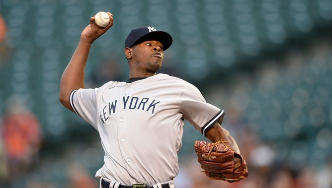 New York Yankees starting pitcher Luis Severino (40) delivers a pitch against the Baltimore Orioles during the first inning of a baseball game, Tuesday, May 3, 2016, in Baltimore.