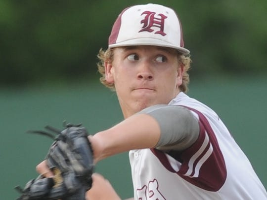 Hawley pitcher Dylan Frazier throws a pitch in the