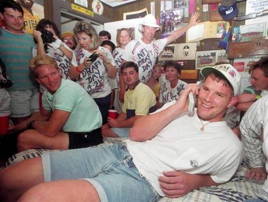 Brett Favre talks to the Atlanta Falcons from his bedroom
