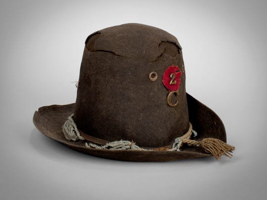 A hat worn by Sergeant Philander B. Wright, Color Sergeant, Company C, 2nd Wisconsin Volunteer Infantry Regiment at Gettysburg is among the items in the collection of the Wisconsin Veterans Museum in Madison.