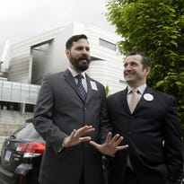 In this 2014 AP file photo, then-plaintiffs Ben West (left) and Paul Rummell talk outside the federal courthouse where a federal judge heard oral arguments in two cases challenging Oregon's ban on same-sex marriage. West announced his candidacy for Congress as a Republican on Feb. 10, 2016. AP Plaintiffs Ben West, left, and Paul Rummell talk outside the federal courthouse where a federal judge is scheduled to hear oral arguments in two cases challenging Oregon's ban on same-sex marriage in Eugene, Ore., Wednesday, April 23, 2014. (AP Photo/Don Ryan)