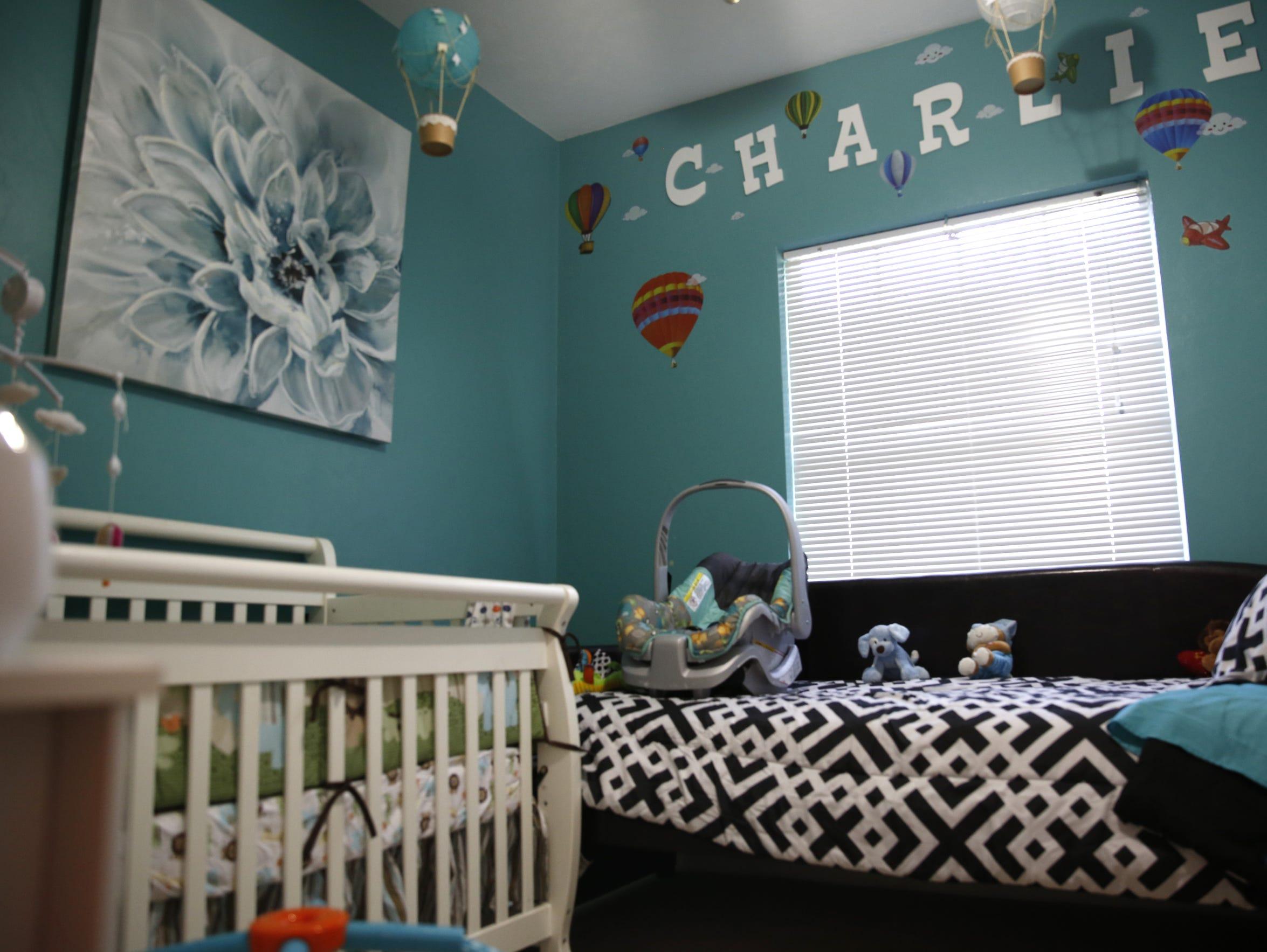 At seven months old Caleb Charlie Nichols sleeps in