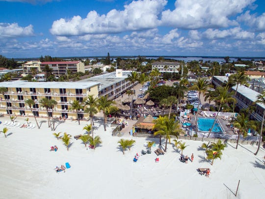 Aerial view from the Gulf of The Outrigger Beach Resort.