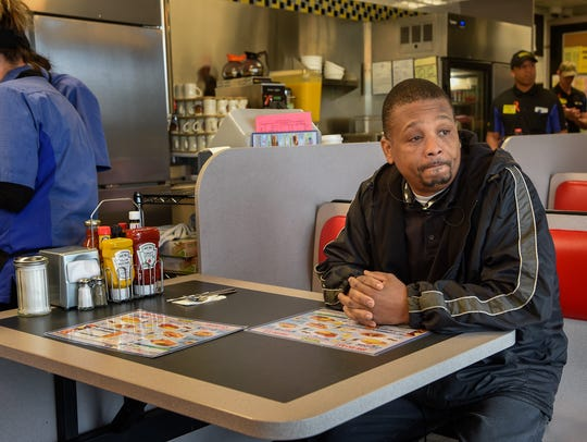Ronald Page becomes emotional as he waits for his breakfast