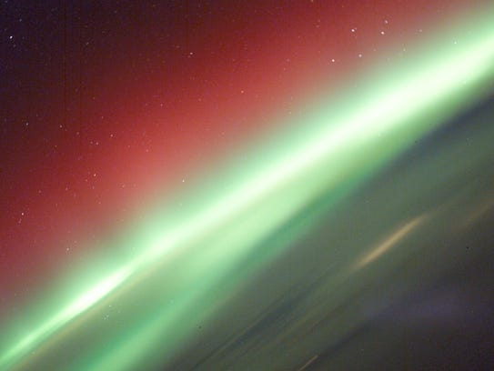 This beautiful red and green aurora, as photographed