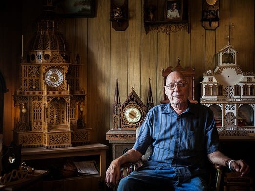 Richard Schroeder, 75, has been making clocks for 10 years.  Schroeder has spinal cancer and hopes he will be able to finish another clock while he is well enough to do so.