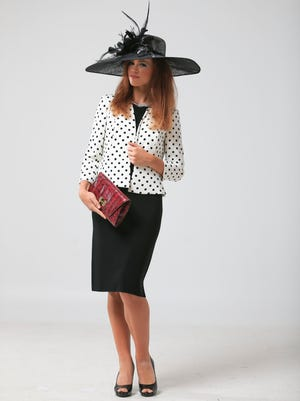 Hat, $129.99, Nine West jacket, $69.99, Absolutely choker, $9.98, all at Stein Mart. DVF clutch, $144, at Rodeo Drive.