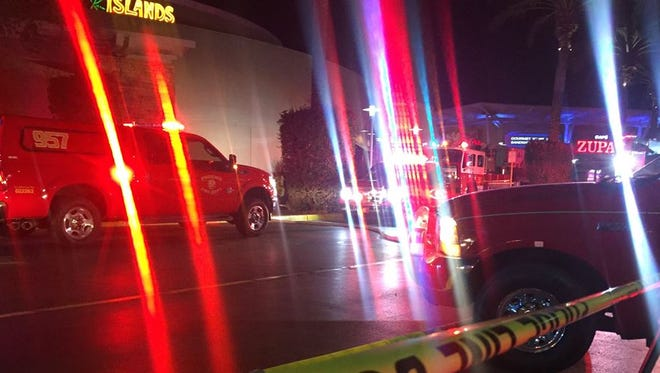 Fire broke out at an empty business at Desert Ridge Marketplace in north Phoenix on Oct. 21, 2016.