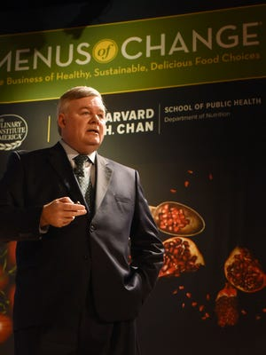 Dr. Tim Ryan, president of the The Culinary Institute of America, addresses attendees of the annual Menus of Change conference on campus.