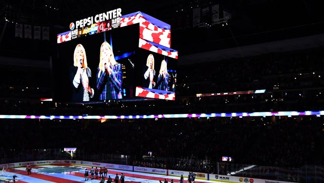 Dec 18, 2017; Denver, CO, USA; General view during the American national anthem projected onto the rink of the Pepsi Center before the game between the Pittsburgh Penguins against the Colorado Avalanche. Mandatory Credit: Ron Chenoy-USA TODAY Sports ORG XMIT: USATSI-360986 ORIG FILE ID:  20171218_cja_ac4_272.JPG