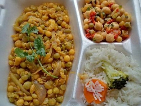 Shakti Shiva's menu always includes gluten free items, as well as vegetarian and vegan options, like this pea curry, a mix of yellow and green peas, cooked with onion, ginger, garlic, tomato, cumin and mustard seed.
