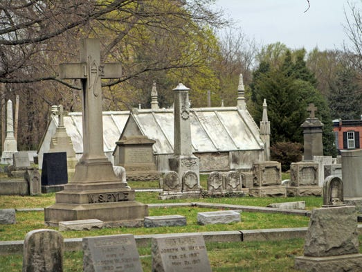 Older graves in the Wilmington and Brandywine Cemetery, Friday, April 18, 2014. Historian Laura Lee will be giving a tour and talking about the cemetery's occupants and history on April 26 at 2 p.m. and May 3 at 4 p.m.