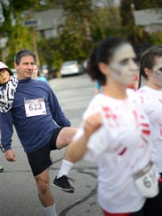 Participants gear up for the start of Bergenfield's