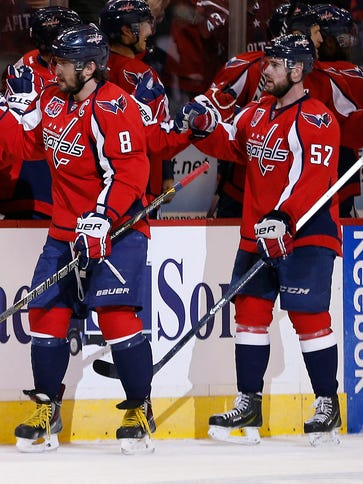 Alex Ovechkin (8) celebrates his second goal of the