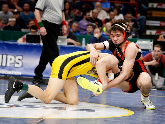 Walton sophomore Caleb Robinson, right, was one of two Section 4 wrestlers to advance to state championship matches Saturday night at the Times Union Center in Albany.
