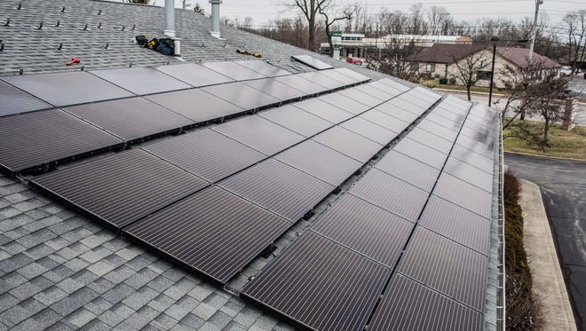 Newly-installed solar panels sit on the roof of First Friends Meeting, 2010 Chester Blvd., in Richmond, on Thursday, Feb. 1, 2018.