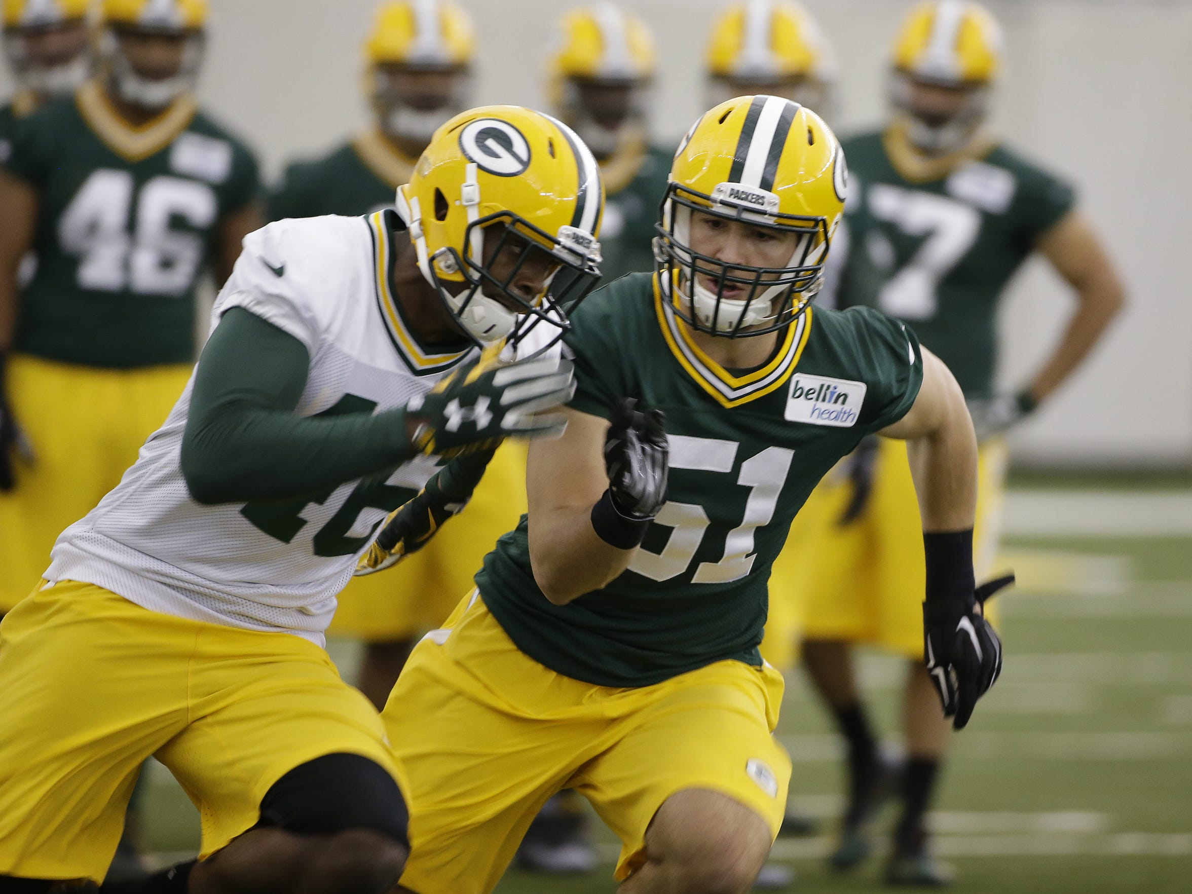 Green Bay Packers draft pick Kyler Fackrell (51) drills during rookie camp practice in the Don Hutson Center.