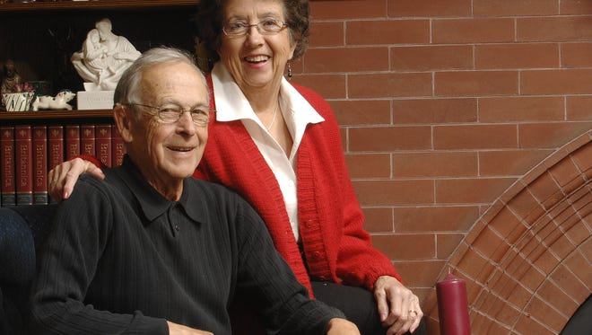 """George """"Lou"""" Barnett and Margaret """"Maggie Barnett pose for a photo in their Cathedral District home in 2008. The couple died a week apart this month after spending nearly 60 years in their central Sioux Falls home."""