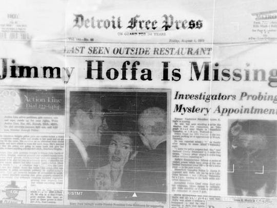 Front page of the August 1, 1975 Detroit Free Press after Jimmy Hoffa went missing on July 30,1975.