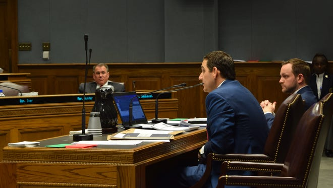 Walt Leger, D-New Orleans, left, introduces his revenue-raising bills to the House Ways and Means Committee on Tuesday. Seated to his right is Luke Morris of the Louisiana Revenue Department.