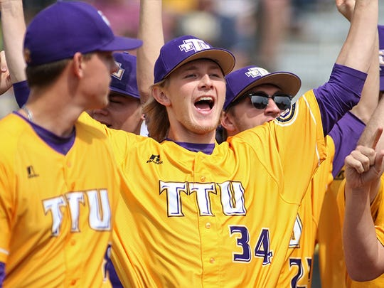 Pitcher Zack Wilcox celebrates Tennessee Tech's 25th