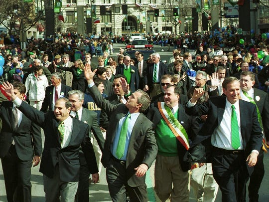 George W. Bush was the last presidential candidate to make a campaign stop in Binghamton, marching in the city's St. Patrick's Day parade on March 4, 2000. Also pictured: former State Senator Thomas Libous, former Binghamton Mayor Richard Bucci, former New York Governor George Pataki and former Broome County Executive Jeffrey Kraham.