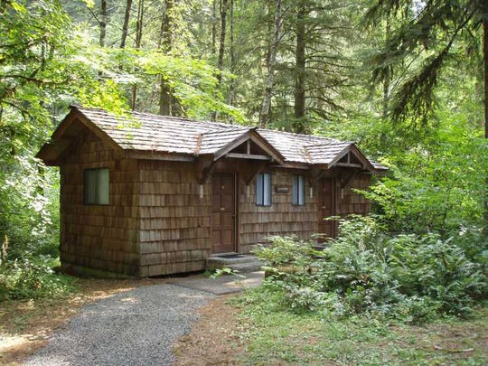 One of the secluded cabins at Silver Falls State Park.