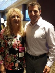 Leila Pippen is pictured with Skinny Body Care CEO Ben Glinsky at the national convention in Dallas.