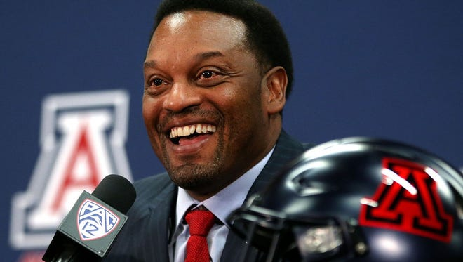 Kevin Sumlin is introduced as the new head football coach at the University of Arizona on Jan. 16, 2017.