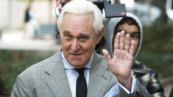Roger Stone arrives at federal court in Washington.
