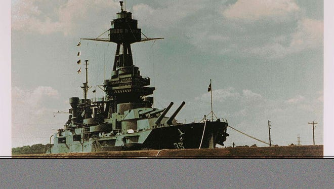 """Battleship Texas is a work by Tom Blackwell donated to The Smithsonian. It was one of six prints in the collection, all came in at the same time as """"Gift of the Ian Hornak Foundation, Robert Chad Smith, Eric Ian Spoutz and Rosemary Hornak."""""""