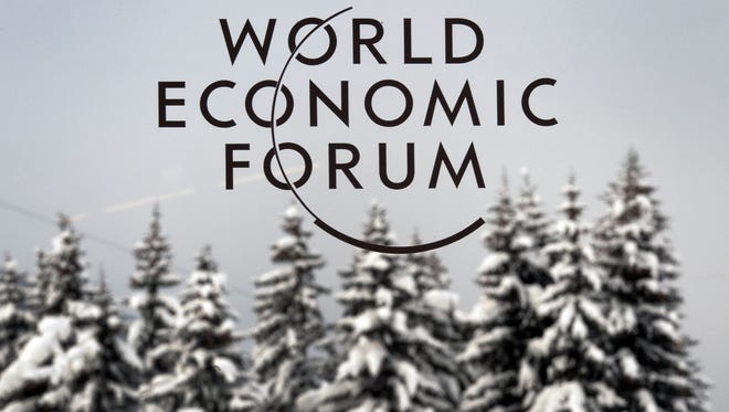 The logo of World Economic Forum in Davos, Switzerland.