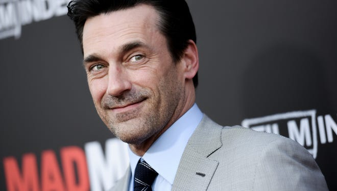 """Jon Hamm arrives at the Live Read And Series Finale Of """"Mad Men"""" held at The Theatre at Ace Hotel on Sunday, May 17, 2015, in Los Angeles."""