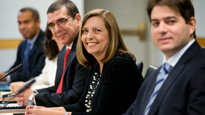 Josefina Vidal, director general of the U.S. Division of the Ministry of Foreign Affairs, second from right, heading the Cuban delegation, attends the fourth round of talks to re-establish diplomatic relations between the United States and Cuba on May 21, 2015, at the State Department in Washington.