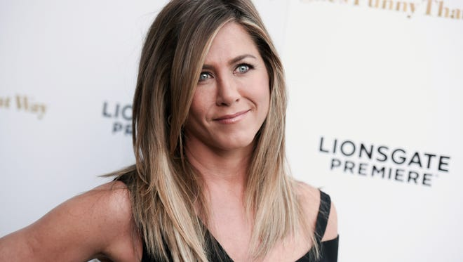 "Actress Jennifer Aniston arrives at the Los Angeles premiere of ""She's Funny That Way"" at the Harmony Gold theater on Wednesday, Aug. 19, 2015."