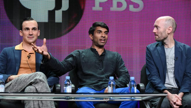 """From left, actors Henry Lloyd-Hughes, Nikesh Patel and creator/writer Paul Rutman speak onstage during the """"Masterpiece: Indian Summers"""" panel at the PBS 2015 Summer TCA Tour held at the Beverly Hilton Hotel on July 31, 2015."""