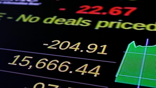 In this Aug. 25, 2015 file photo, a screen above the trading floor of the New York Stock Exchange shows the 2015 closing low number for the Dow Jones industrial average.   (AP Photo/Richard Drew)