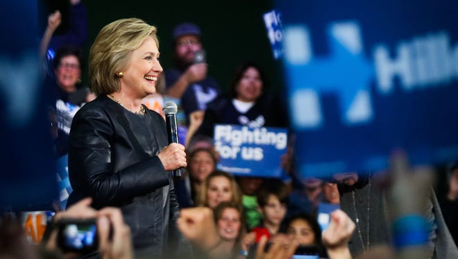 Hillary Clinton speaks to supporters during a rally in Oakland on May 6, 2016.