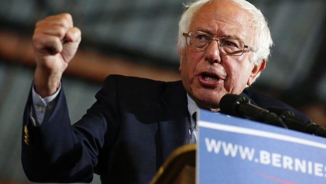 "Democratic presidential candidate Sen. Bernie Sanders speaks at Barker Hangar on June 7, 2016, in Santa Monica, Calif. Sanders refused to concede defeat to Hillary Clinton late on June 7, vowing to ""continue the fight"" for the Democratic nomination despite his rival declaring herself the party's flagbearer for the US presidential race."