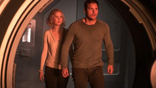 Jennifer Lawrence and Chris Pratt star in the sci-fi romance 'Passengers.'