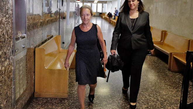 Julie Patz, left, mother of Etan Patz, arrives at court in New York with Assistant District Attorney Joan Illuzzi-Orbon, to testify in the retrial of Pedro Hernandez, Friday.