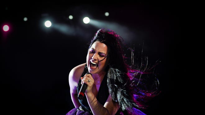 Evanescence's American lead singer and pianist, Amy Lee, performs on the main stage of the Rock in Rio Lisboa music festival at Bela Vista Park in Lisbon on May 25, 2012.